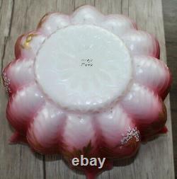 Antique Wilcox Victorian Cranberry Glass Cherub Bride's Basket Art Glass