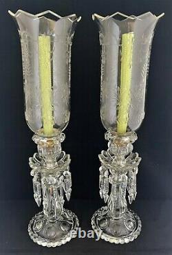 Antique pair Baccarat France Medallion Candlesticks Engraved Hurricane Shades