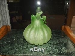Antique rare Green Satin Art glass Vase Melon Gourd Onion Form Blown Victorian