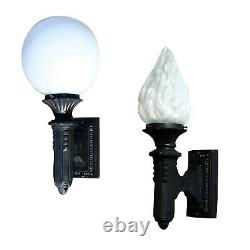 Art Deco Outdoor Wall Scone Light Fixture with Globe or Flame Shade Bungalow