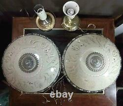 Art Deco Victorian Ceiling Light Fixture Chandelier Ornate Glass 15 Shade Pair