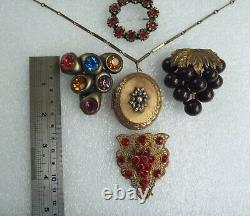 Art Deco Victorian Jewelry Lot Czech Brass Glass Celluloid Pins Clips 10 Pc