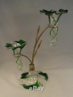Art Nouveau OSLER Brass Epergne Vase Victorian Green Swirl Glass European RARE
