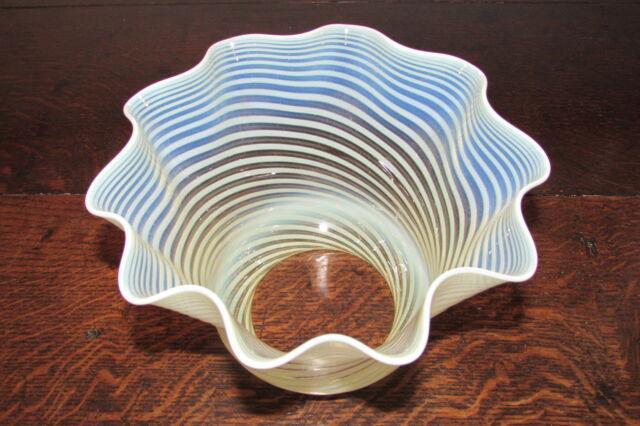Art Nouveau Vaseline Opaline Opalescent Glass Tulip Duplex Large Oil Lamp Shade