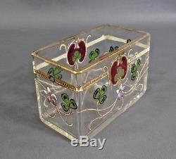 Art Nouveau Victorian Glass Jewelry Vanity Jar Trinket Box Painted Enamel Flower