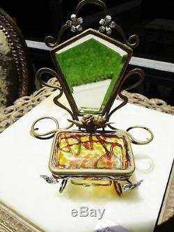 Art Nouveau Victorian Loetz Glass Ormolu Perfume Bottle Trinket Casket Mirror