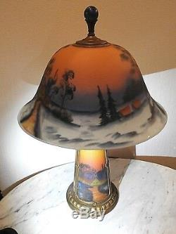 Art glass reverse Painted Antique table lamp Winter Farm Scene lighted base