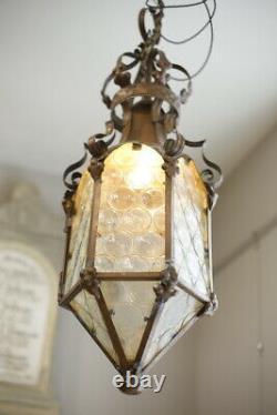 Arts & Crafts copper lantern with bullseye glass