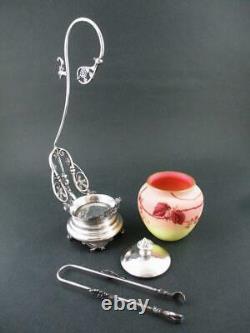 BABCOCK quad silver frame Webb BURMESE art glass jar Victorian PICKLE CASTOR