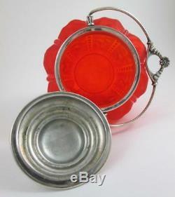 BEADED DRAPE Pigeon Blood Red Satin Glass BISCUIT cracker JAR antique c. 1890