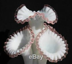 Beautiful 4-horn Rose (pink) Crest Epergne-fenton For L. G. Wright, 17 In. Tall
