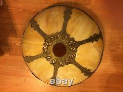 Beautiful Antique Arts & Crafts Cream Convex Slag Glass Lighted Base'Married