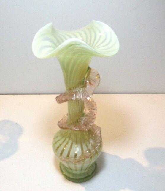 Beautiful Antique Uranium Vaseline Glass Vase Victorian Art Glass C 1890 #2