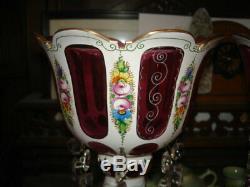 Beautiful Antique Victorian Moser Cranberry Gilt Enamel Floral Mantle Lusters