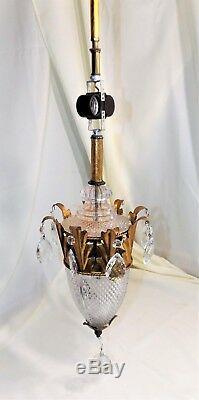 Beautiful Art Deco / Nouveau Victorian Hanging Lamp Light, Pressed Cut Glass