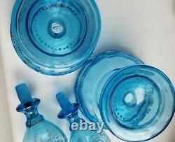 Beautiful PAIR Trumpet Epergnes w enamel. Celestial BLUE Harrach/Bohemian/Moser