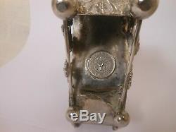 Beautiful Rogers & Bro. Silver Plate Napkin Ring W Cranberry Glass Enamel Vase