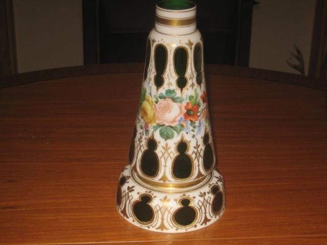Beautiful Victorian Bohemian Moser Glass Faceted Lamp Stand