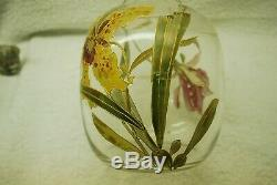 Beautiful Victorian French Bohemian Flower Decorated Art Glass Vase C1900