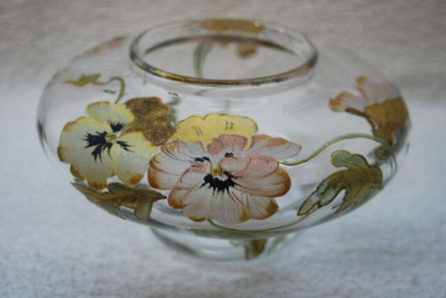 Beautiful Victorian Heavily Decorated Art Glass Squat Vase 1880's 1910
