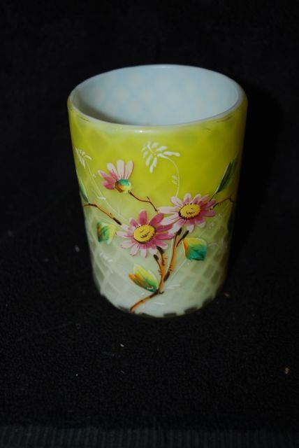 Beautiful Victorian Phoenix Decorated Yellow Diamond Quilted Mop Tumbler 1880s