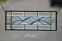 Beveled Stained Glass Window Panel, 19 1/2 X 7 1/2Ready to Hang