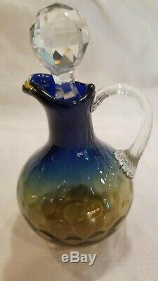 Bluerina Boston Sandwich Vinegar Cruet Shades To Blue Victorian Art Glass Hobbs