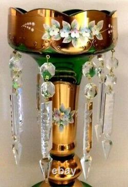 Bohemian 11 1/2 MANTLE LUSTER. Gilt Gold & Emerald. 8 Prisms. Enameled Florals