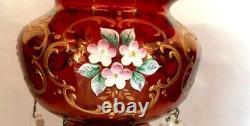 Bohemian 13MANTLE LUSTER. Gilt Gold & Ruby. 5 Prisms. Enameled Florals. Antique
