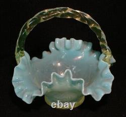 Bohemian Art Glass Vaseline Turquoise Handled Basket Twist Handle Crimped Edge