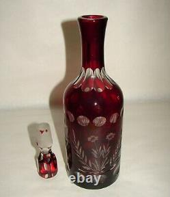 Bohemian Crystal Ruby Red Cut To Clear Decanter Czechoslovakia 13 1/4