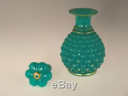 Bohemian Czech Biedermeier Victorian Era Turquoise Uranium Glass Perfume Bottle