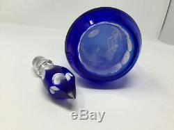 Bohemian Czech Cobalt Blue Glass Cut To Clear 16 Decanter with Stopper with 2 Glass