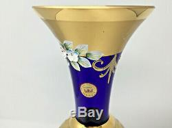 Bohemian Czech Hand painted 22kt Gold & Enamel Moser Cobalt Blue Vase Large 14