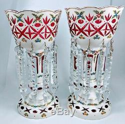 Bohemian Czech Overlay Cut to Cranberry Red Enamel Flower Glass Mantle Lusters