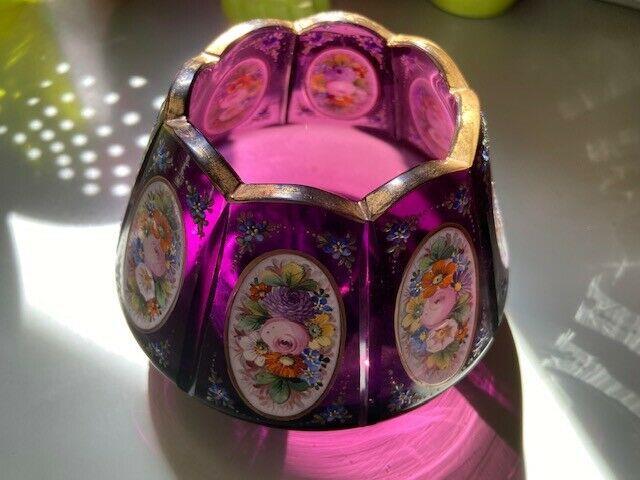 Bohemian/czech Victorian Glass Moser Enameled Violet Purple Glass Rose Bowl Vase