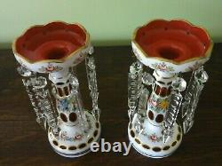 Bohemian Hand Painted & Cranberry Overlay Cut Glass Lustres Bowl Garniture Set
