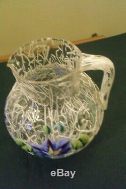 Bohemian Kralik Peloton Fancy Art Glass Milk Cream Pitcher w Enameled Florals