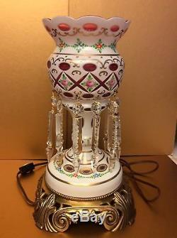 Bohemian Milk Cut to Pink Crystal Glass Lamp Candleholder withCrystal Prisms, 12H