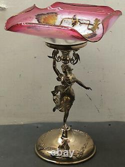 Bride's Centerpiece Stand Barbour Silver Plate 1890s Art Glass Victorian Basket