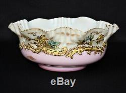 C 1850 Antique Victorian Mt. Washington Glass Brides Bowl 11