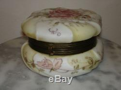 C F Monroe Wavecrest Rose Bud Decorated Victorian Art Glass Dresser Box