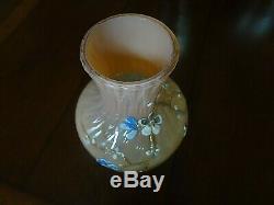 C1890 Stevens & Williams Glass England Peach Fade Diamond Optic Enameled VASE