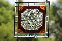 Cherry Red Victorian Style Stained Glass Window Panel, Beveled