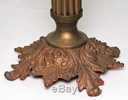 Column LAMP, France, brass, art glass font, blue interior spiral rib, 16t, c1880