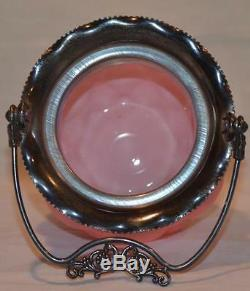 Consolidated Antique Pink Satin Glass Quilted Biscuit Jar With Fancy Handle