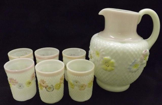 Consolidated Art Glass Cosmos Victorian Water Pitcher And 6 Tumblers