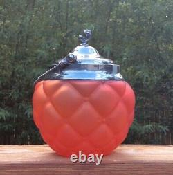 Consolidated Satin Art Glass Pigeon Blood Red Quilted Biscuit Jar