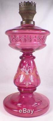 Cranberry Glass Oil Kerosene Lamp Hand Paint Czech Art Huge Antique Magnificent