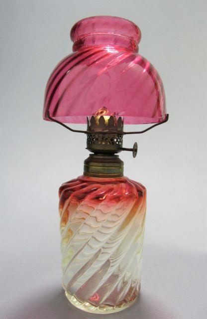 Cute Miniature Baccarat Oil Lamp Rose Tiente Amberina Swirl Withchimney 9 Tall
